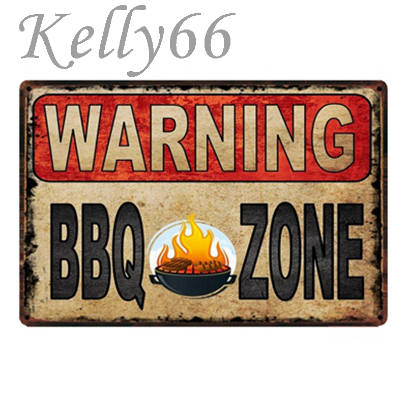 [ Kelly66 ] Warning BBQ Zone Fresh Barbecue Party Metal Sign Tin Poster Home Decor Bar Wall Art Painting 20*30 CM Size y-1765