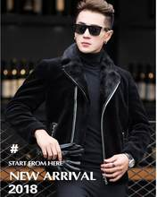 Real Mink coat Genuine Leather Men Short paragraph Winter Fur coat Men's motorcycle leather Jacket hombre veste cuir biker homme(China)