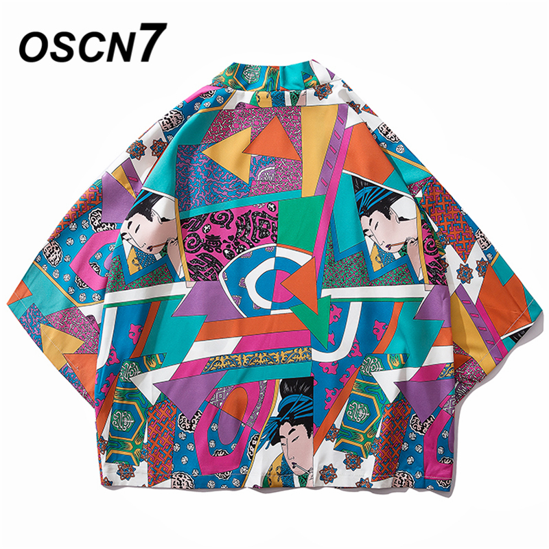 OSCN7 Printed Kimono Cardigan Shirt Men Street 2019 Korea Three Quarter Sleeve Coat Shirts Harujuku Mens Shirt 8805