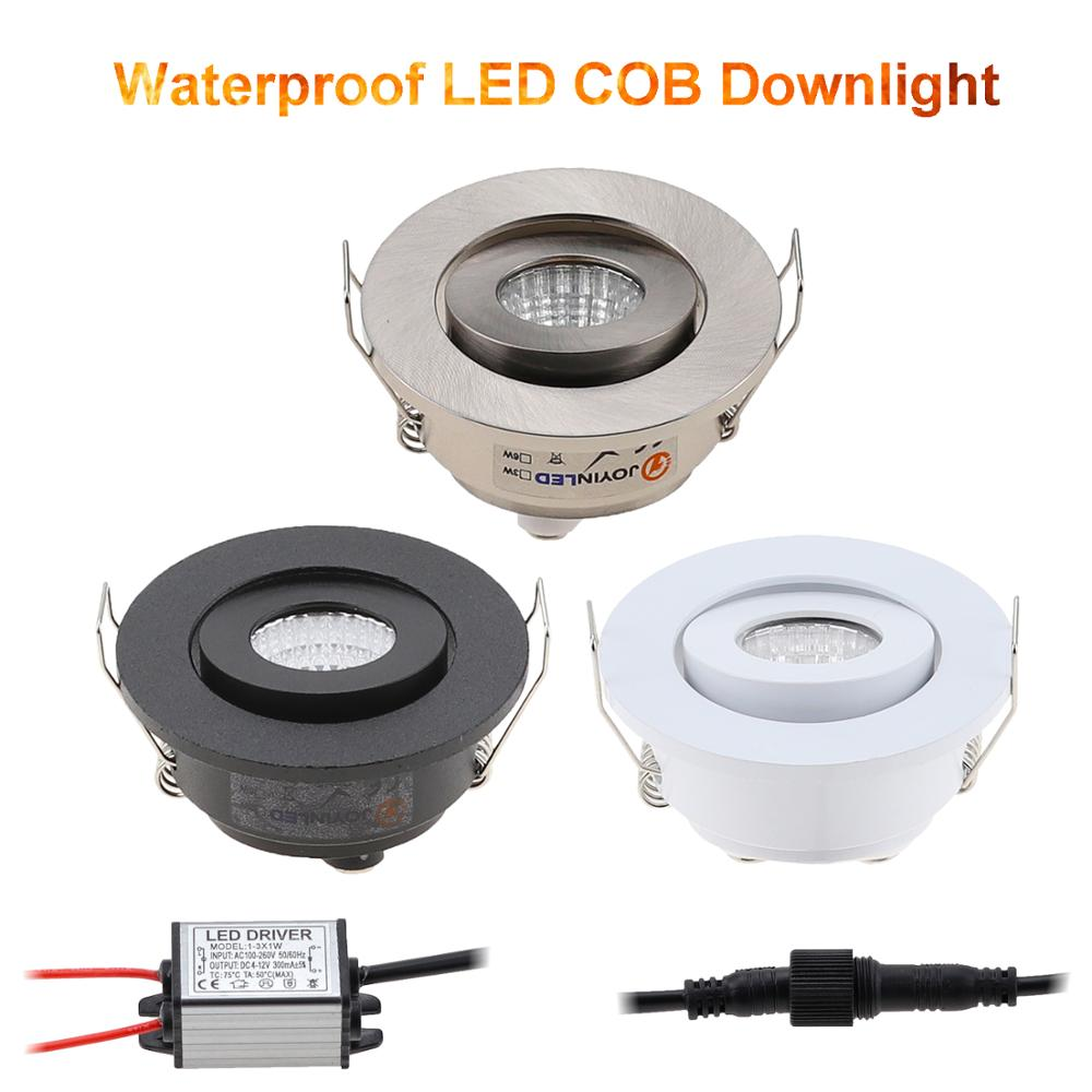 Dimmable LED Waterproof IP65 COB Ceiling Outdoor Recessed 3W AC90-260V DC12V Warm White LED Downlight Hotel Villa Home Lighting