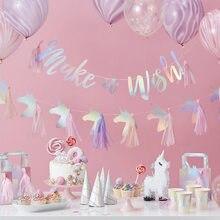 Unicórnio festa arco-íris bandeira de papel bandeira flâmula com tecido borla chuveiro do bebê aniversário guirlanda decoração festa suprimentos