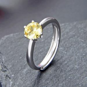 Image 3 - JRSIAL 925 סטרלינג תכשיטי כסף טבעת קוריאנית אופנה קטן טרי אישה טבעת קלאסי סיטרין Resizable טבעת