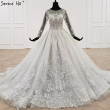 Grey O Neck High end Sexy Wedding Dresses 2020 Long Sleeves Beading Sequins Lace Bridal Gowns HX0056 Custom Made