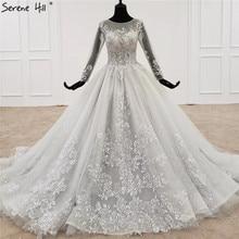 אפור O צוואר סקסי חתונת שמלות 2020 ארוך שרוולים ואגלי פאייטים תחרה כלה שמלות HX0056 תפור לפי מידה