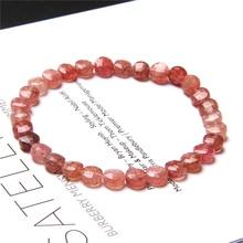 Women Bracelet Strawberry Crystal Beads Bracelet Round Faceted Pink Quartz Tourmaline Stone Beaded Bracelet Jewelry Female Gifts