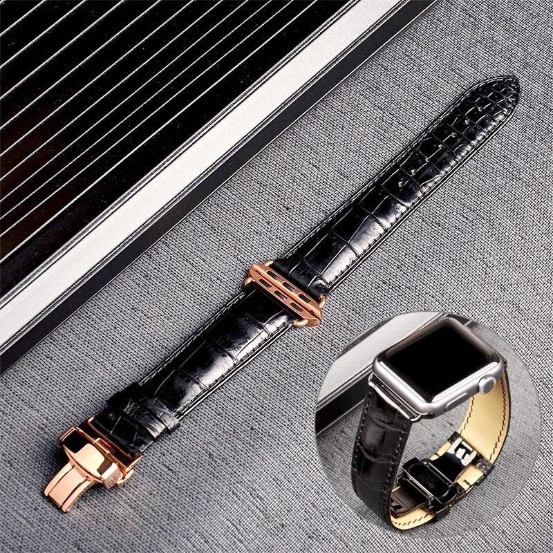 Bracelet Alligator véritable de qualité supérieure pour montre Apple 5 4 3 2 1 44mm 40mm Bracelet iWatch 42mm 38mm avec Bracelet à boucle papillon