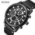 RUIMAS модные мужские часы механические часы для мужчин черный стальной бренд полый Скелет циферблат наручные часы Relogio Masculino 6768