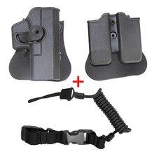 Tático airsoft coldre caso pistola de combate dupla revista bolsa caça cinto coldre arma para glock 17 19 23 31 32