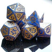 7 Pcs 25mm Riesen DND Würfel, Polyhedral Würfel Set mit Leder Tasche, D & D Würfel für DND Pathfinder RPG MTG (Blau)