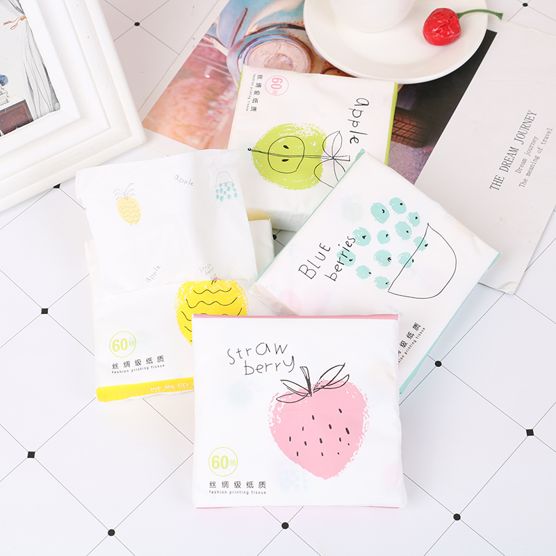 60 Sheets/Pack Cartoon Fruits Printing Tissue Paper Napkins Serviettes Home Paper Towel Raw Wood Pulp