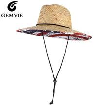Hat Sun-Hat Lifeguard Straw-Safari Wide Brim GEMVIE Women Summer with for Chin-Cord Flag