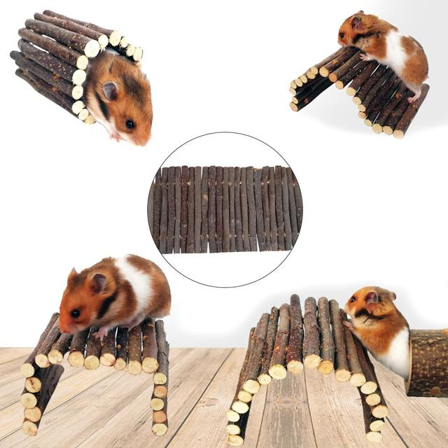Apple Wooden Arch Bridge Hamster Dodging Tunnel Hamster Molar Toy Pet Rabbit Guinea Pig Supplies 4