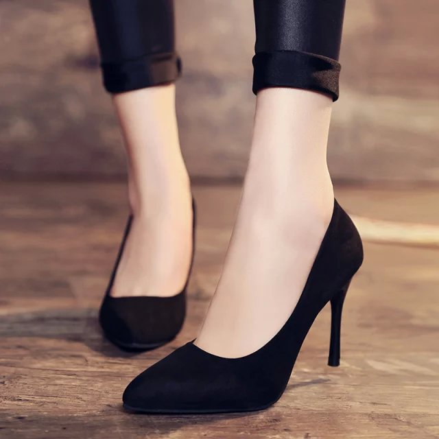 New Temperament Pointed Black Sexy Stiletto Heels Shallow Mouth Fashion Wild Single Shoes Sexy Comfortable Large Size High Heels