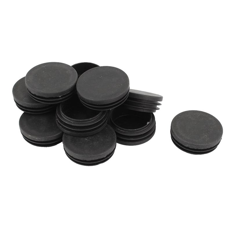 Blanking End Round Tube Inserts Cap Cover 50mm Dia Black 12 Pcs