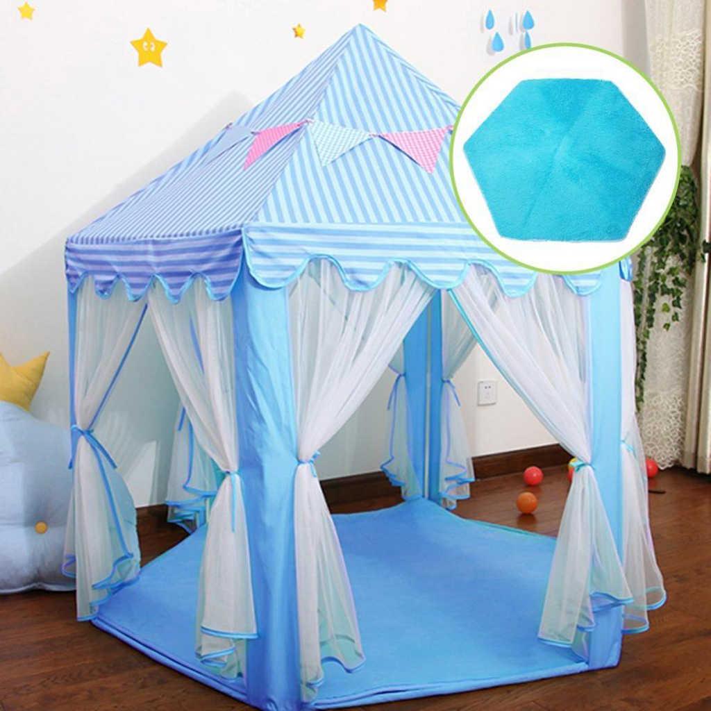 Kids Play Tent Hexagonal Mat Baby Bedroom Floor Game Carpet Pink