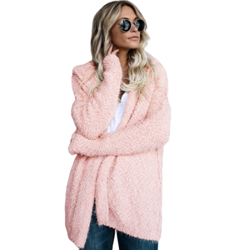 Women Hooded Cardigan Casual Solid Knitting Sweaters Big Sizes 3XL 4XL 5XL Oversized Warm Coat Autumn New Female Outwear 2019