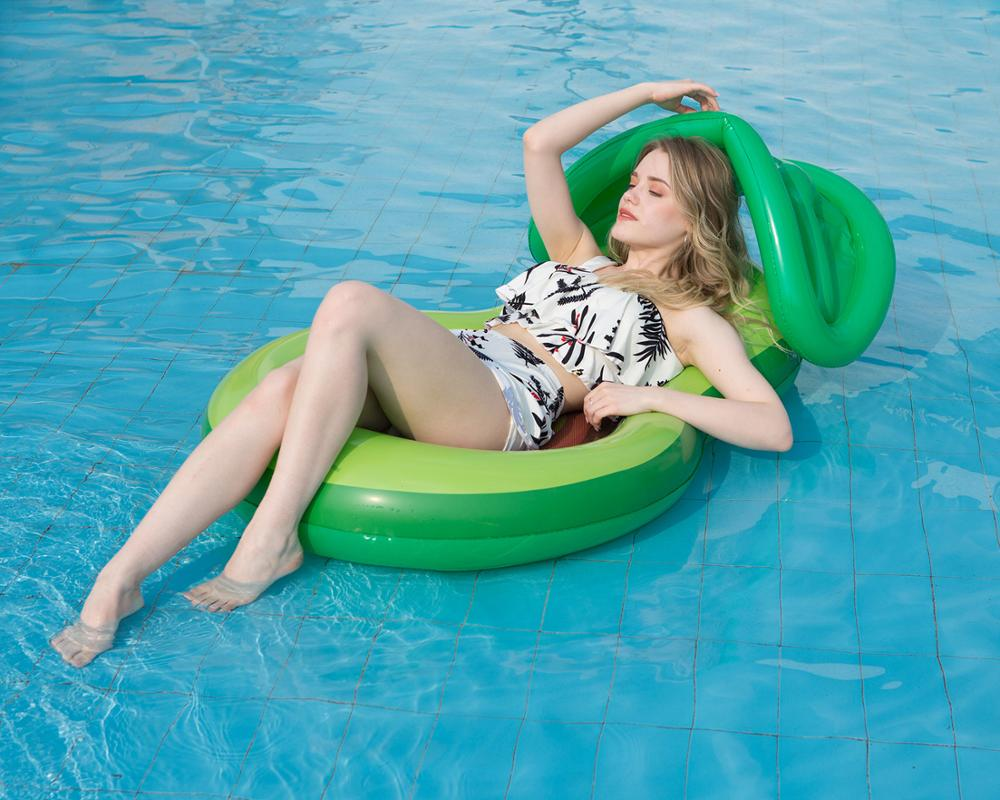 Inflatable avocadoWater adult recliner inflatable net floating Swimming Mattress sea swimming ring Pool Party Toy lounge bed swi 2