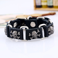 New Vintage Punk Black Leather Chain Bracelet Men Jewelry Personality Steampunk Skull Charm