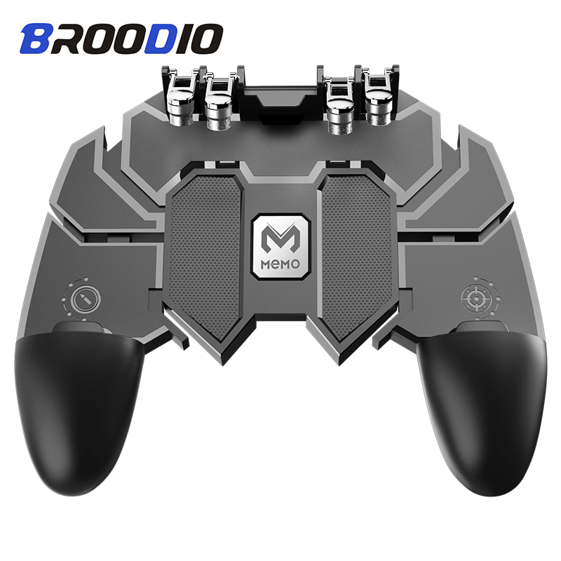 <font><b>Pubg</b></font> Controller AK66 Six Finger Gamepad Triggers <font><b>Pubg</b></font> Metal Trigger <font><b>Joystick</b></font> Control <font><b>Pubg</b></font> For IOS Android Mobile Phone Game pad image
