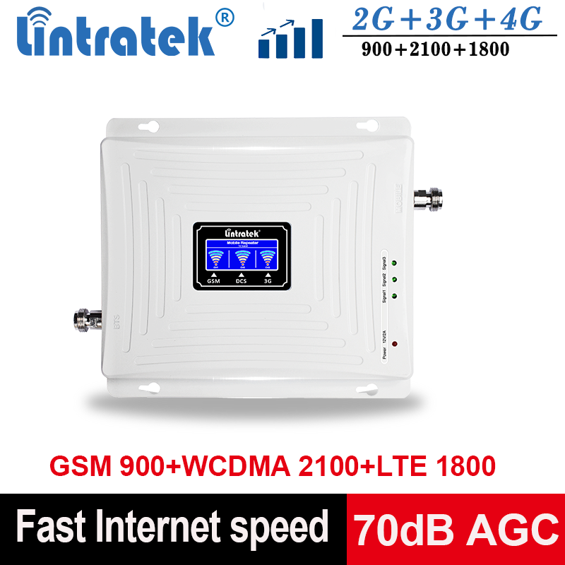 Lintratek Signal Repeater GSM 2G 3G 4G Tri Band Signal Booster 900 1800 2100 Ampli GSM 900 Repeater 4G 1800 Booster 3G 2100MHz