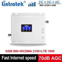 Lintratek sinyal tekrarlayıcı GSM 2G 3G 4G Tri Band sinyal güçlendirici 900 1800 2100 Ampli GSM 900 tekrarlayıcı 4G 1800 güçlendirici 3G 2100MHz
