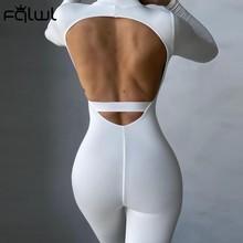 Fqlwl manga longa branco sem costas macacão feminino macacão de uma peça roupa das senhoras sexy bodycon preto marrom macacão feminino 2021
