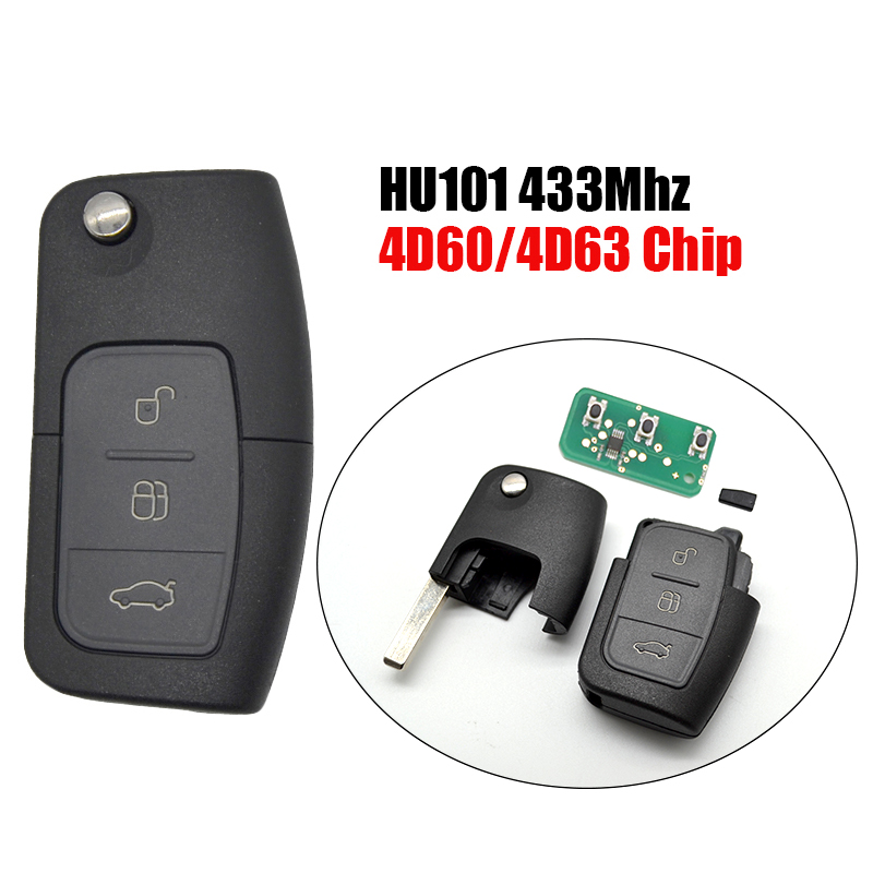 433MHz 3 Button Flip Key Fob Transponder Chip For Ford FOCUS MONDEO