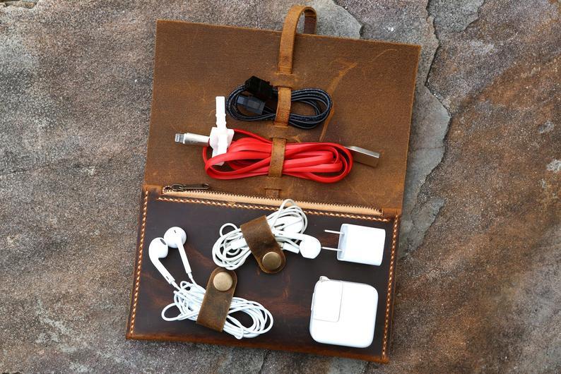Personnalisé en cuir câble gestion cordon organisateur câble organisateur chargeur sac organisateur cordon étui pochette CO05PZ - 5