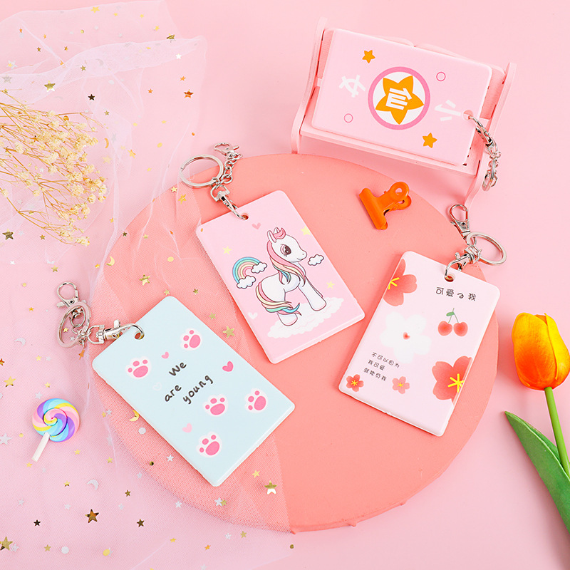 Card Holder Students Campus Cute GIRL'S Heart Simple Creative South Korea Bus Card Protective Case Keychain Card Holder One-piec