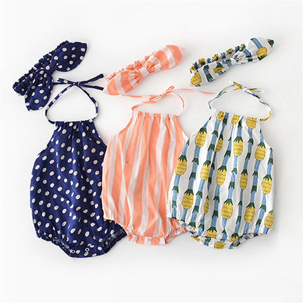 Summer Baby Girl Bodysuit Princess Newborn Baby Clothes For 0-2Y Girls Sleeveless Jumpsuit Kids Baby Outfits Headband