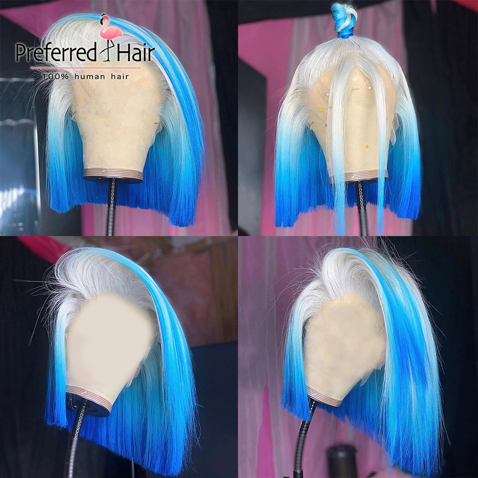 Preferred Blue Highlights Bob Wig Remy Brazilian Ombre Pink Lace Front Human Hair Wigs Pre Plucked Red Full Lace Wig For Women
