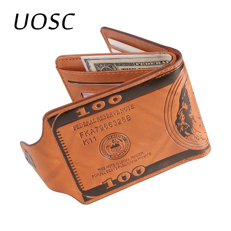 UOSC Luxury 100% Genuine Leather Wallet Fashion Short Bifold Men Wallet Casual Soild Wallet With Coin Pocket Purses Male Wallets