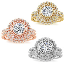 Classic Women's Zircon Wedding Ring Set Luxury Silver Color Round Cut White Blue Gem Crystal Promise Ring Engagement Jewelry Gif luxury women s crystal zircon ring red green gem ring round ring valentine s day gift cocktail party jewelry engagement ring