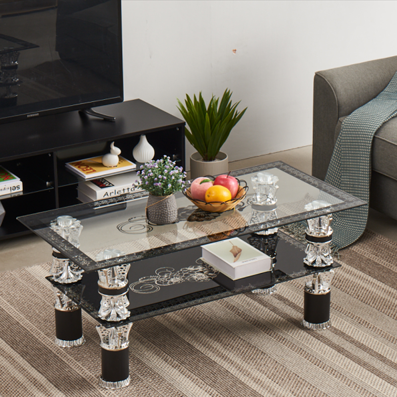 Panana Modern Tempered Glass Coffee Table 2 Tiers Living Room Coffee Table Black And Clear Glass Fast Delivery