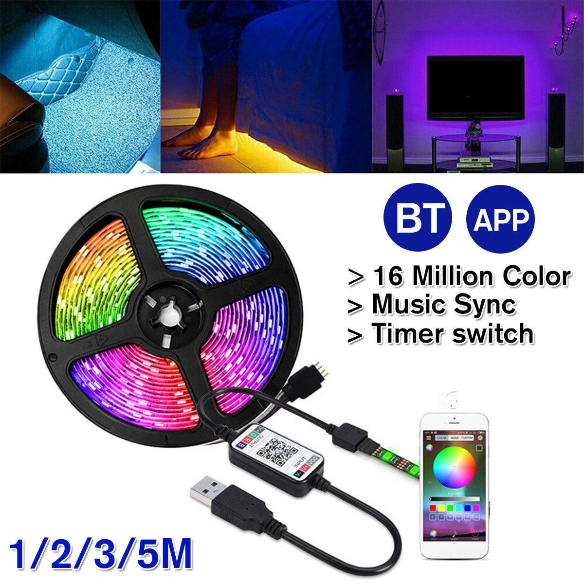 5V USB Power bluetooth LED Strip Light 5050 RGB 60LED/M Music Remote APP Control TV Backlight Flexible Light Tape(China)