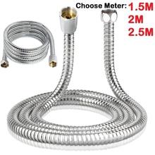 1Pcs Shower Hose 1.5/2/3 Meter Stainless Steel Plumbing Flexible Bathroom Bath Shower Tube Head Silicone For Bathroom