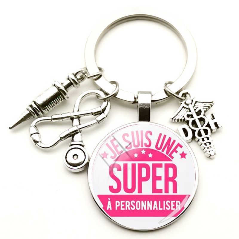 แฟชั่น Creative Doctor ของที่ระลึก Key CHAIN เข็มฉีดยาหูฟังจี้โบราณแหวนกุญแจเงิน Charm กระเป๋ารถของขวัญโรงพยาบาล