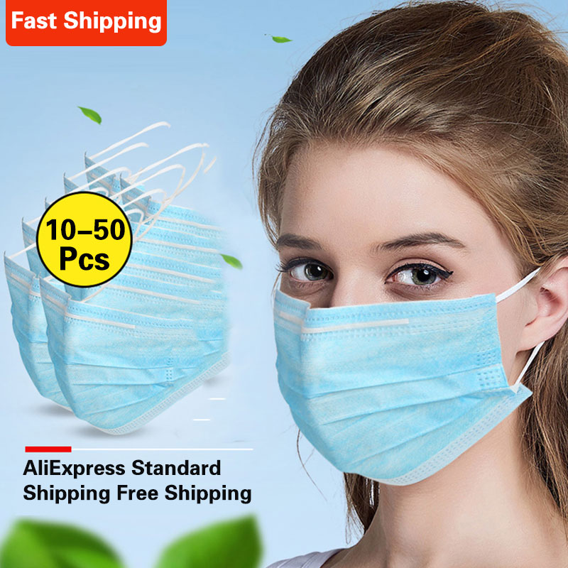 In Stock!Anti-Dust Dustproof Disposable Earloop Face Mouth Masks 3 Layers Filter Dustproof Earloop Non Woven Mouth Mask 10/50PCS