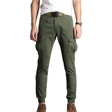 Cargo Pants Men Slim Foot Close Elastic Streetwear Vogue Stretch Fabric Ankle Length Black Khaki Pants Many Pocket Trousers Male(China)