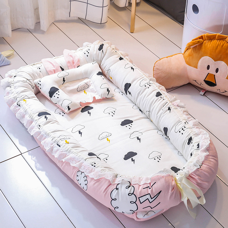 New 90*55cm Portable Baby Nest Travel Bed For Boys Girls Outdoor Bed Infant Cotton Cradle Crib with Pillow Cushion ZT61