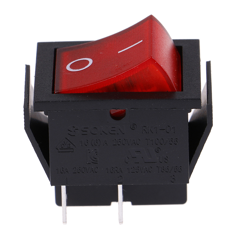 1pc Wippenschalter 4-polig rote beleuchtete Wippe 250V//16A B WGS WS