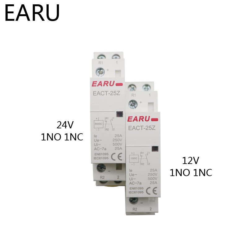 H96bacd0fb4b14ad3b80d1cfdf5a9da6bl - EACT-25Z DC 12V 24V 2P 16A 25A 1NO 1NC 2NO 2NC Contact Din Rail Household DC Modular Contactor Switch for Smart Home House Hotel