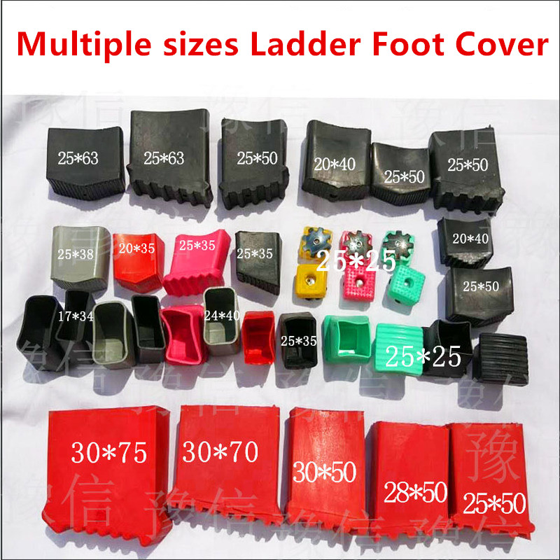 Multiple Sizes 4pcs Non-slip Aluminum Ladder Foot Cover Rubber Oval Pipe Plugs Floor Protector Pad Table Foot Dust Cover Leg Cap