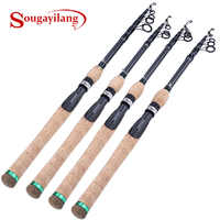 Sougayilang 1.8M-2.7M Protable Telescopic Fishing Rod Cork Handle Spinning Fishing Rod Carbon Fiber Travel Fishing Rod Tackle