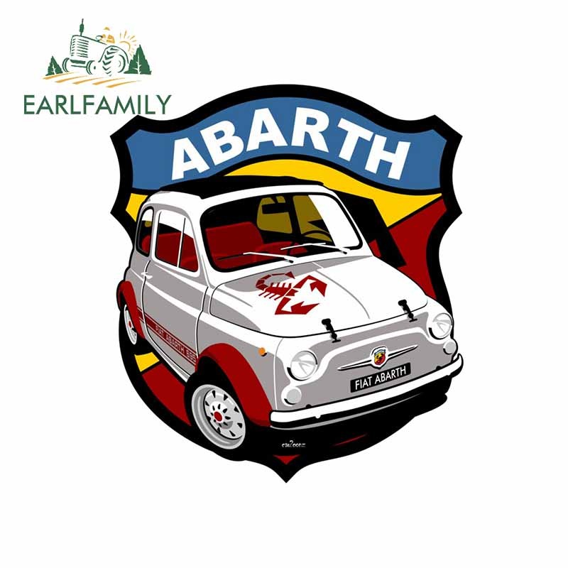 EARLFAMILY 13cm x 11.6cm for Fiat Abarth 695 SS Car Stickers and Decals DIY 3D Funny Scratch-proof Anime Decals Simulation Fun