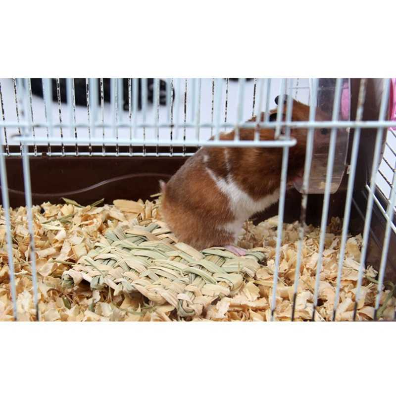 Tikar Jerami Hewan Peliharaan Hamster Kelinci Mengunyah Mainan Rumput Persiapan Pad Hewan Kecil Tikus Guinea Pig PET Mainan Menyenangkan
