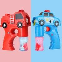 Kids Cartoon Fire Truck Car Vehicle Electric Bubble Gun Automatic Bubble Machine Maker Blower Music Light Soap Bubble Gun Toy