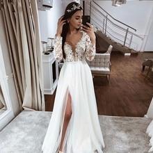 Eightale Long Sleeves Wedding Dress V-Neck Appliques A-Line High Side Split Tulle Boho Gowns Custom Made Bridal Dresses