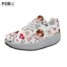 FORUDESIGNS 2019 New Fashion Woman Platform Shoes Cartoon Nurse/Doctor Pattern Swing Shoes Casual Spring/Autumn Female Footwear