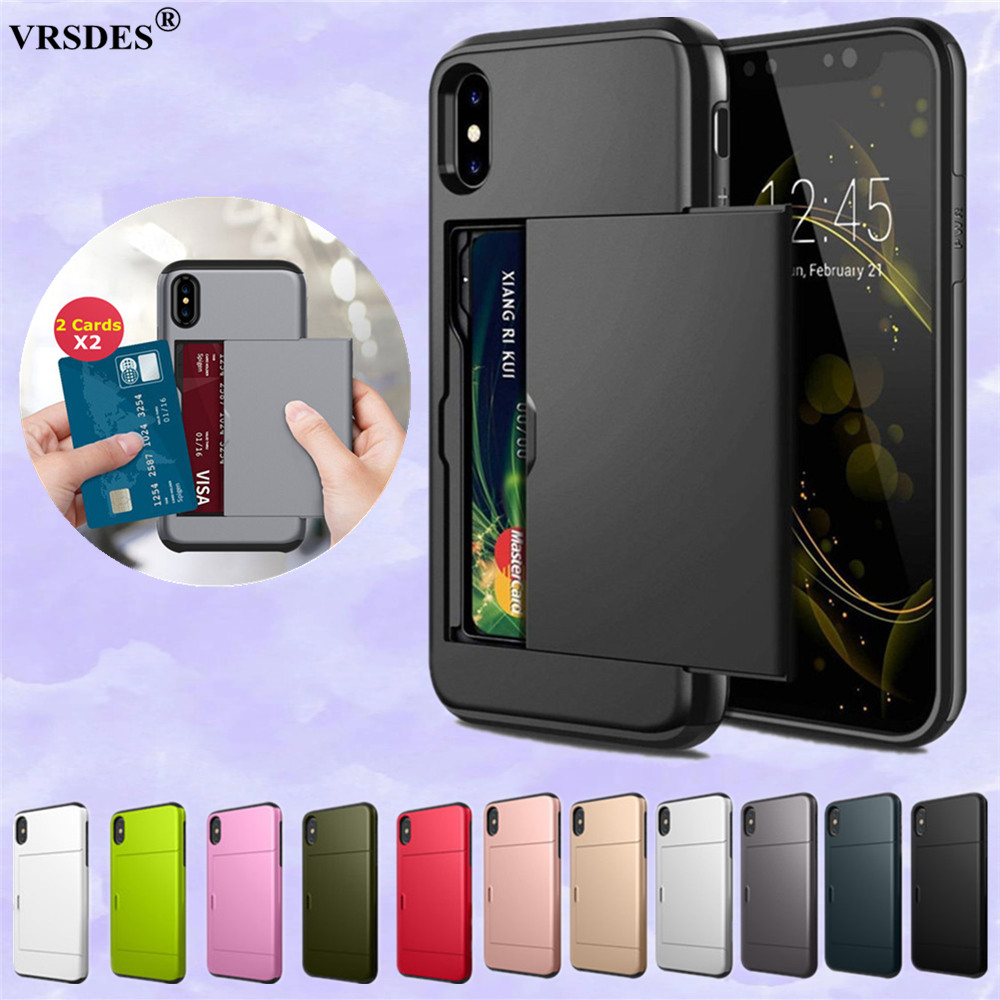For <font><b>iPhone</b></font> X XR 6S 7 8 Plus Card Slot Shockproof Hard PC Soft TPU Hybrid <font><b>Wallet</b></font> <font><b>Case</b></font> For <font><b>iPhone</b></font> 11 Pro Max 6.5 6.1 5.8 XS MAX <font><b>5S</b></font> image